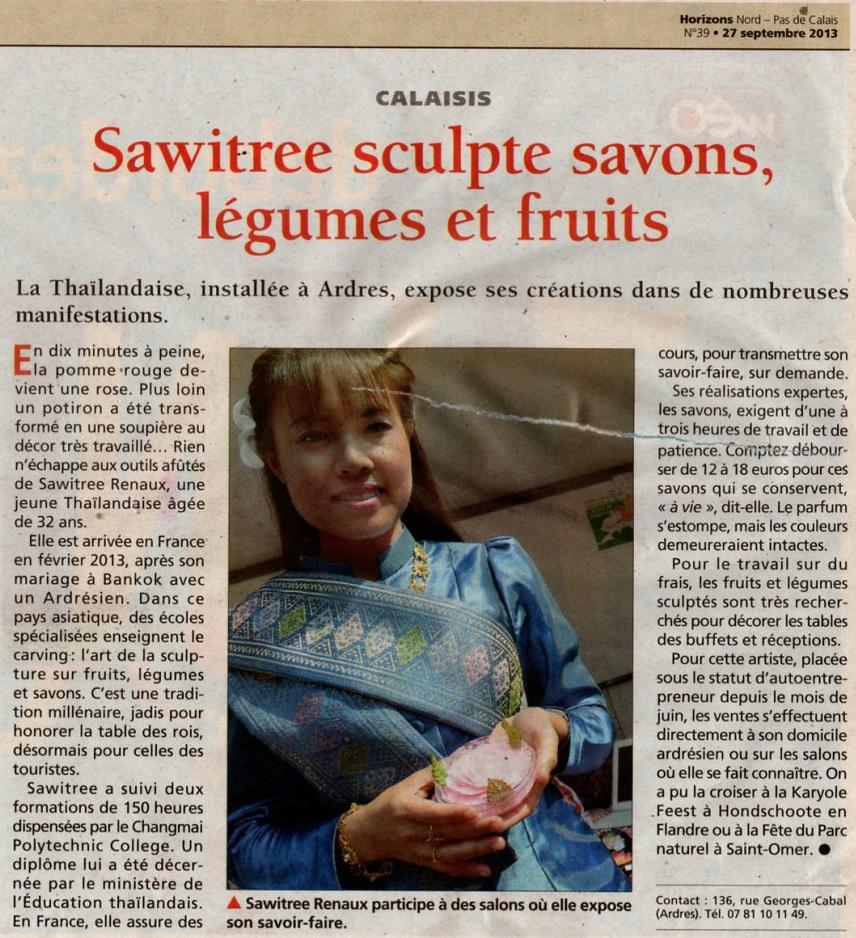 article de presse sur Sawitree Renaux