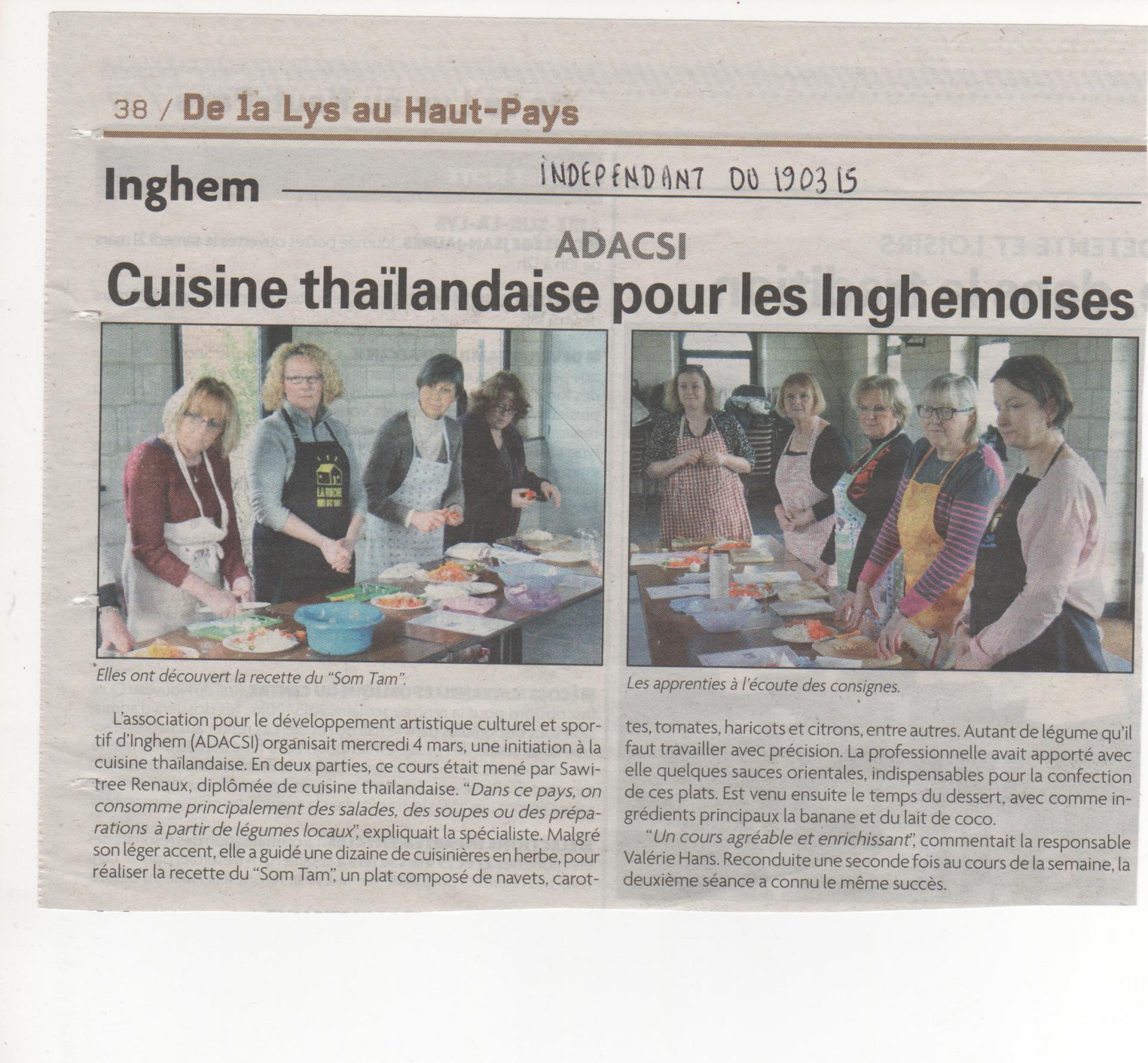 Inghem mars 2015 cours de cuisine l independant