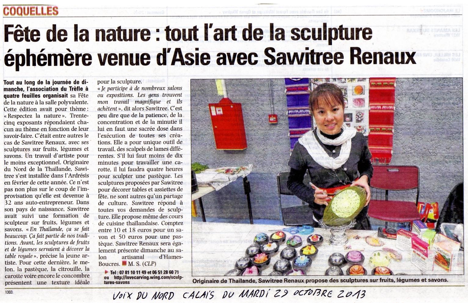 article Voix du nord sur Sawitree Renaux
